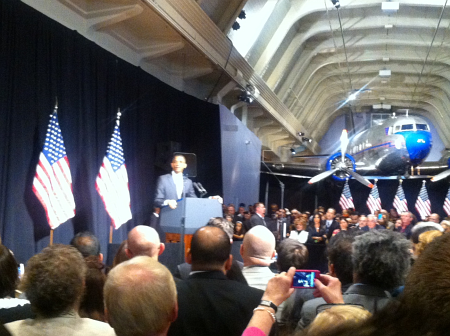 President Obama at the Henry Ford museum in Dearborn, MI