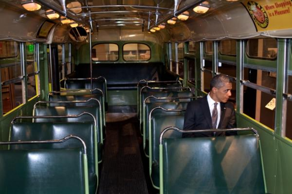 PHOTO: President Obama sits on the bus Rosa Parks made history in