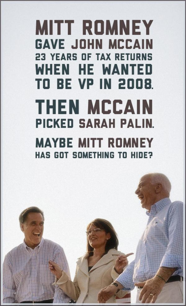 Romney revealed 23 years of his tax returns to John McCain — but not to YOU