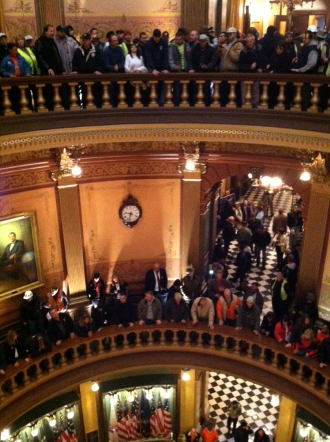 Michigan Capitol Building full of anti-Right to Work protesters by 9:30 a.m. (VIDEO & PHOTOS)