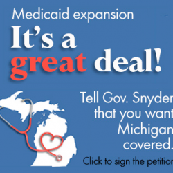 "Republicans want to stop Michigan from informing people about state's ""Healthy Michigan"" (Medicaid expansion) program"