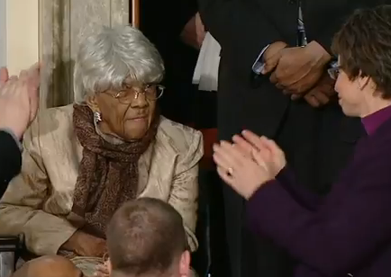 """Desiline Victor, the 102-year-old black woman tried hard to stand but couldn't. Boehner could, but didn't."""