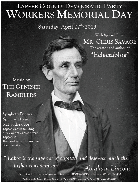 Team Eclectablog to speak to the Lapeer County Dems SATURDAY, APRIL 27th