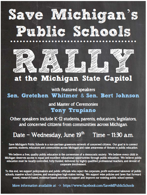 UPDATED: Education supporters plan huge grassroots rally at Mich Capitol June 19th, teacher unions & media confused