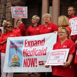 Members of the Michigan Nurses Association, including Carolyn Hietamaki, RN, at a rally in Marquette.