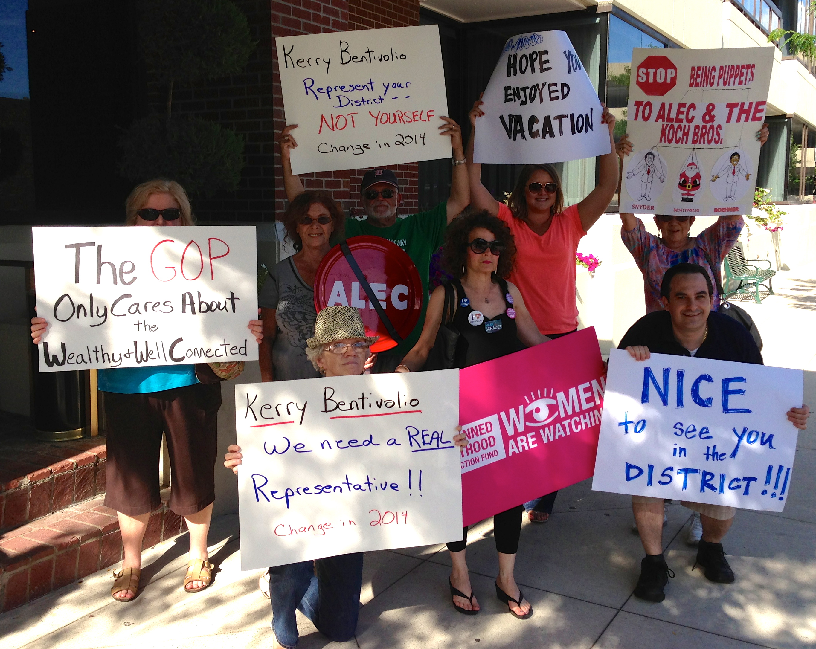 Protesters gather to remind Rep. Kerry Bentivolio who he works for