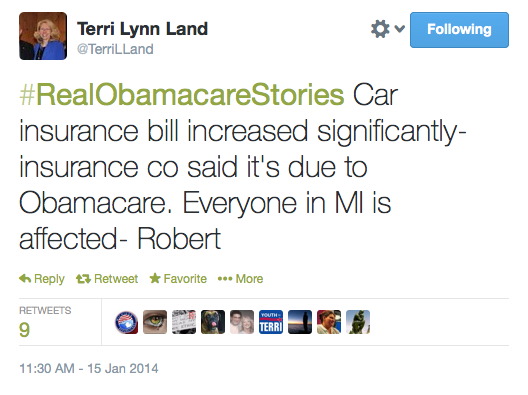 Aaa Car Insurance Quotes Cool Terri Lynn Land's Obamacare Derangement Syndrome Goes Off The