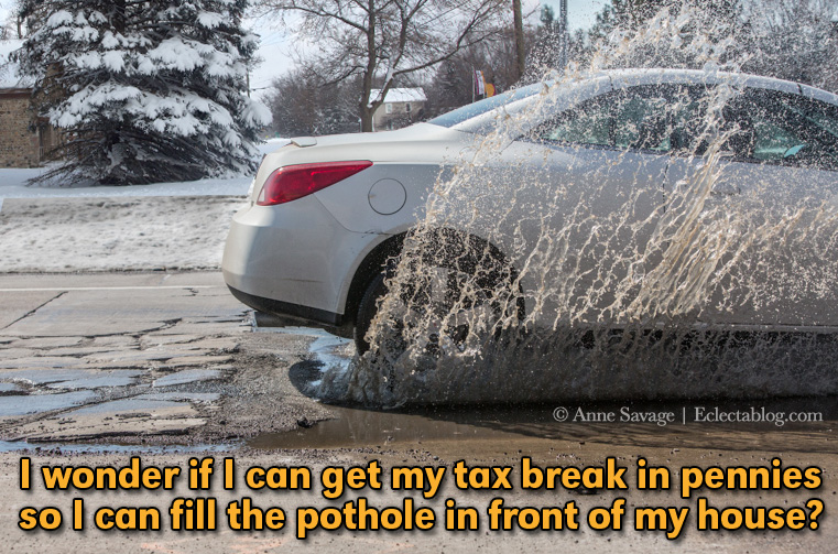"As Michigan roads disintegrate, Republicans push for tax cuts – Don't call them potholes, call them ""Snyderholes"""