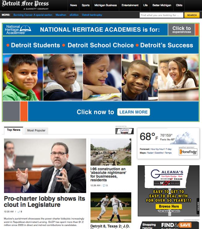 For-profit charter school corporation's Detroit media ad buy now has a price tag: several hundred thousand dollars