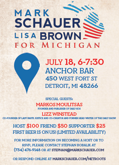 Join Mark Schauer for a Happy Hour Fundraiser at Netroots Nation – July 18, 2014