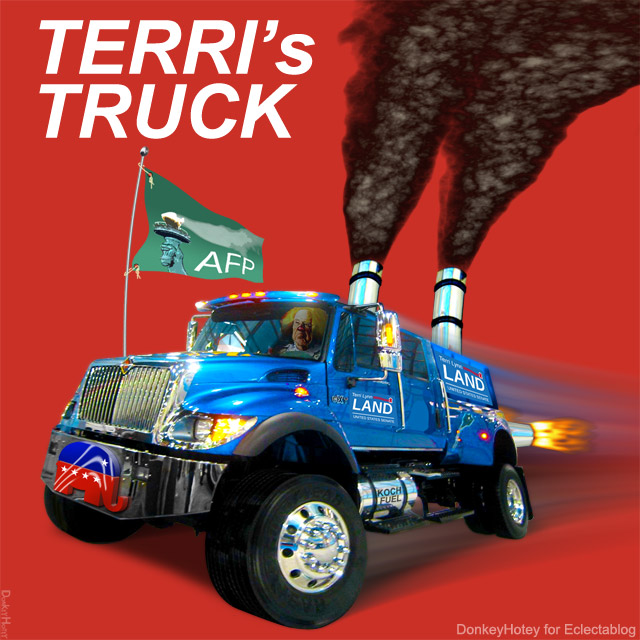 UPDATED: You know that gas-swilling behemoth of a campaign truck driven by Terri Lynn Land? She has TWO of them!