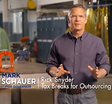 VIDEO: Mark Schauer vows to repeal Snyder's tax on seniors & make corporations that send jobs overseas repay tax breaks