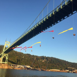 Greenpeace protesters hanging from Portland bridge prevent icebreaker from returning Artic oil drilling area
