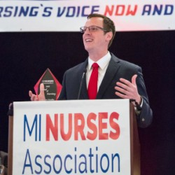 VIDEO: State Rep. Jon Hoadley receives award from Michigan Nurses Assn and gives a barn burner of a speech