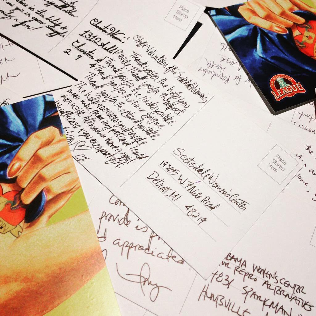 ACTION: Join Lady Parts Justice League and thank women's clinics on #PostcardSunday Nov. 29