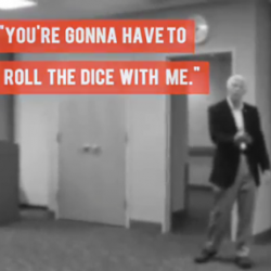 "Jack Bergman: Running FOR Congress and AWAY FROM voters in MI-01, ""You're gonna hafta roll the dice with me."""