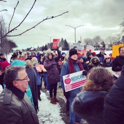 Nearly 200 rally on a Monday to oppose ACA repeal at Rep. Dave Trott's Michigan office