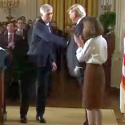 """WATCH: Pr*sident Trump uses the """"Yank and Pull"""" power play handshake on SCOTUS nominee Neil Gorsuch"""