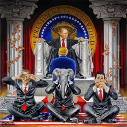 Artist Michael D'Antuono's latest piece illustrates who Republicans are actually bowing down before