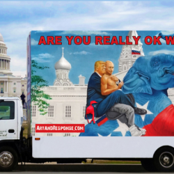 Political artist Michael D'Antuono displays a fleet of truck-mounted billboards in Washington, DC, highlighting Trump's unsavory alliance with Vladimir Putin