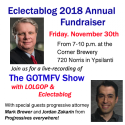 Eclectablog 2018 Annual Fundraiser update: Additional guest – progressive attorney Mark Brewer – and our 1st round of sponsors!