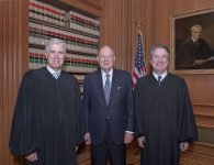 Event Description: The Supreme Court held a special sitting on November 8, 2018, for the formal investiture ceremony of Associate Justice Brett M. Kavanaugh.  President Donald J. Trump and First Lady Melania Trump attended as guests of the Court.    Photo Caption: Retired Justice Anthony M. Kennedy (center) with his former law clerks, Associate Justice Neil M. Gorsuch (left) and Brett M. Kavanaugh.