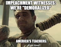 """Impeachment witnesses say they are """"demoralized""""; America's teachers: """"First time?"""""""