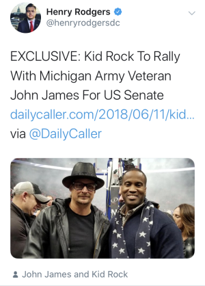 What exactly will it take for GOP Senate candidate John James to renounce Ted Nugent-wannabe Kid Rock's endorsement?