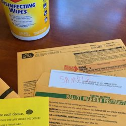 Disinfecting wipes to combat COVID-19 with absent voting