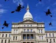 Michigan Witches Against Patriarchy rally at the Capitol to protest abusive language by Republicans – April 14, 2021